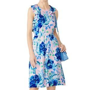 Lilly Pulitzer Rory Pink Blue Ruffle Satin Dress